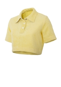 Short terry cloth blouse with collar in pale yellow