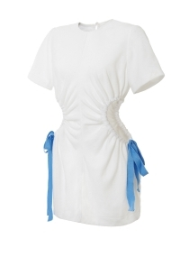 Terry cloth dress with cut out elements in white