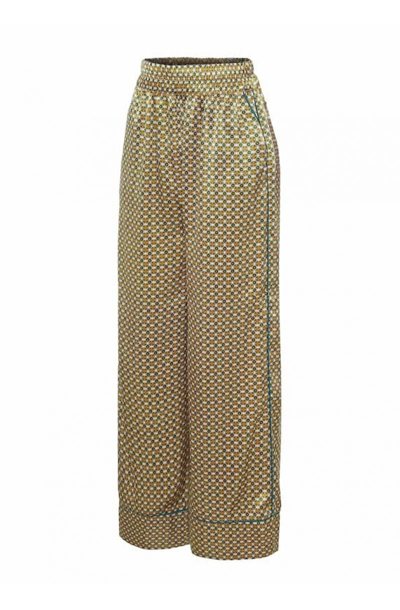Satin wide leg pyjama style pants with print