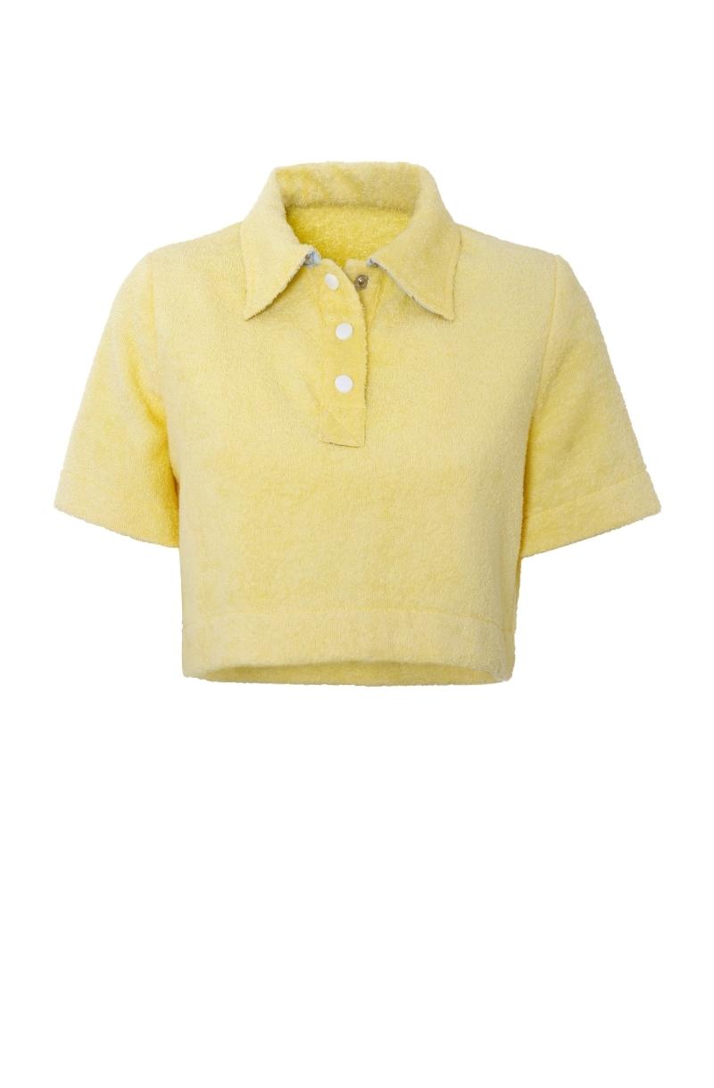 Къса блуза от хавлиен плат в бледо жълт цвят с яка