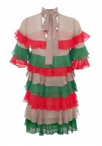 Short chiffon dress with colorful frills