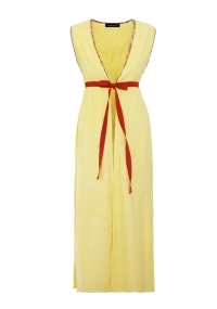 Long terry cloth vest in pale yellow