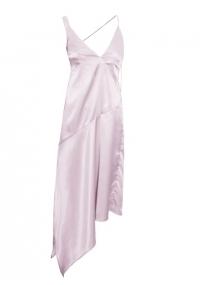 Сребърна асиметрична сатенена слип рокля