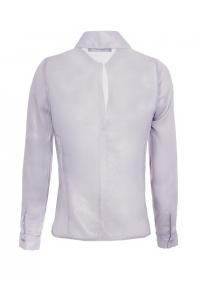 Светло сива блестяща шифонена асиметрична риза