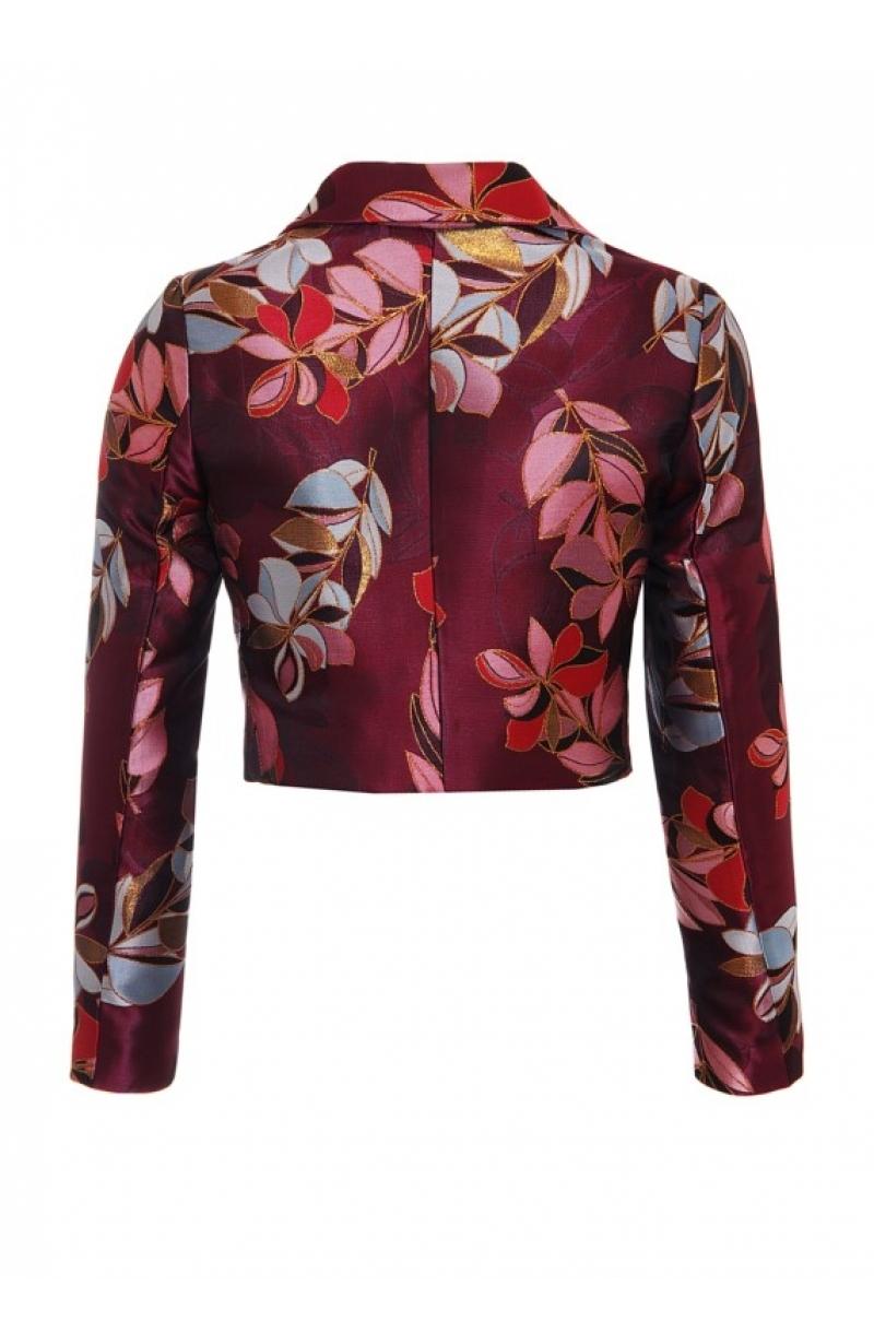 Short jacquard jacket with floral print