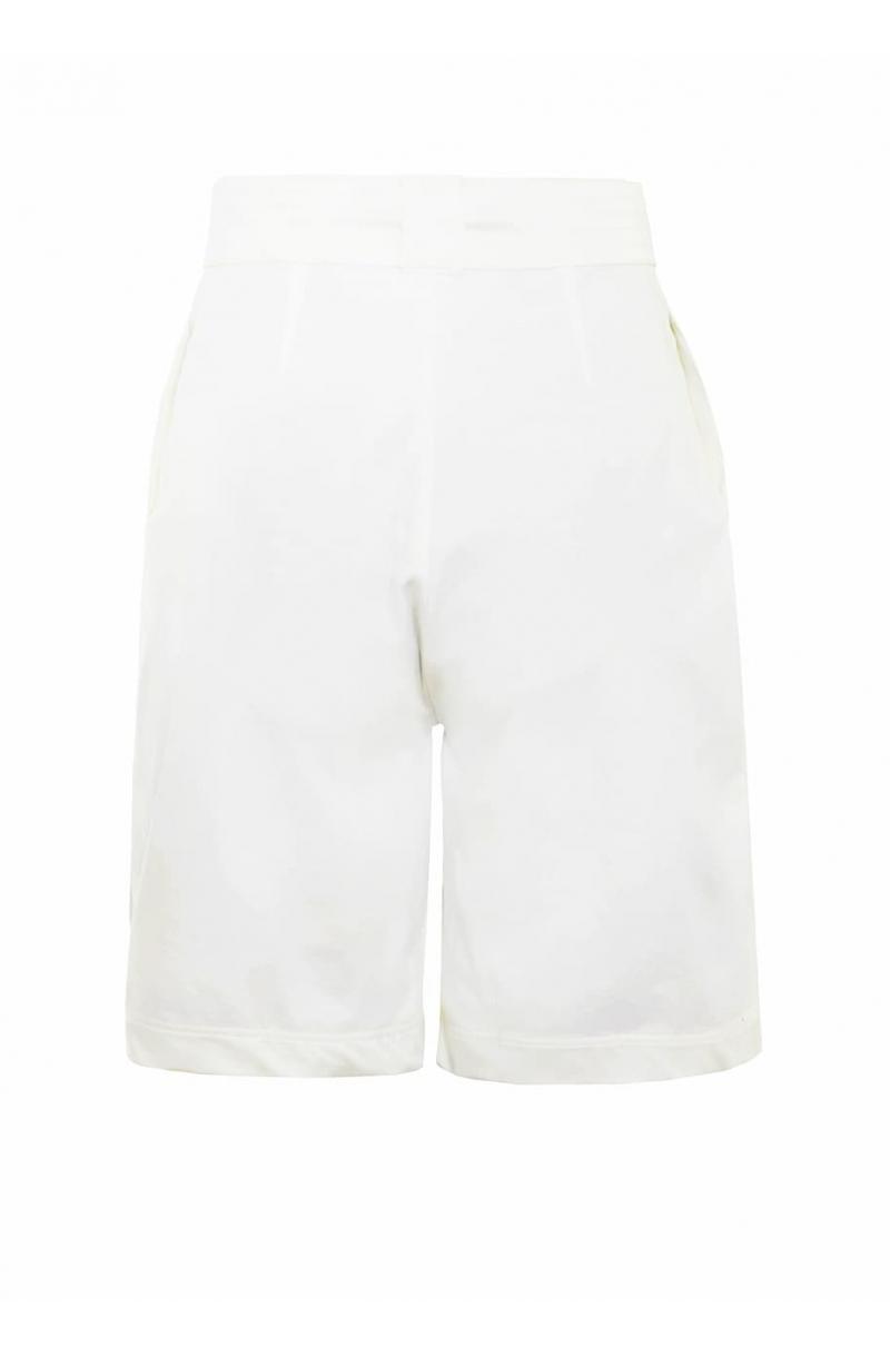 White cotton bermuda shorts with high- waist