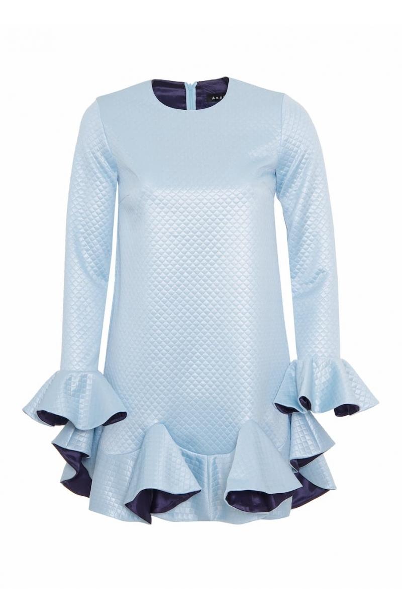 Къса рокля с волани в светлосин цвят