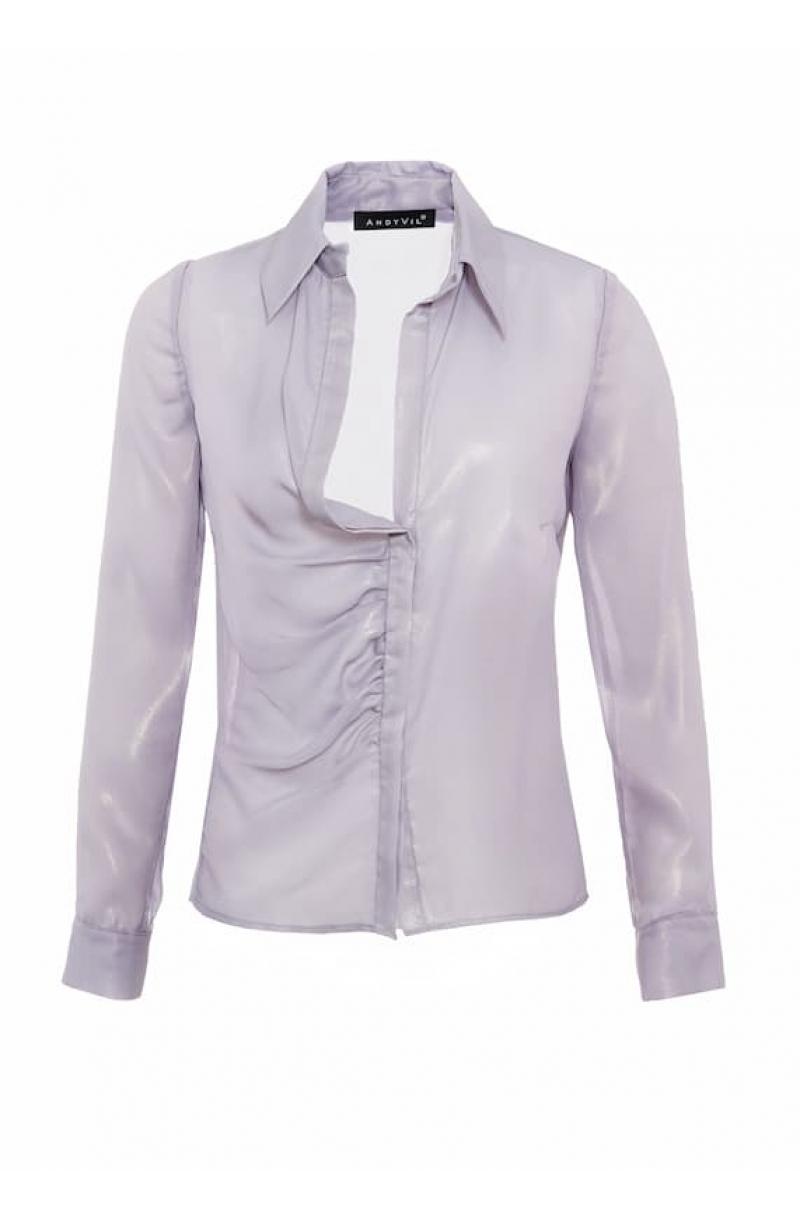 Camisa de gasa gris claro con brillo y corte asimétrico