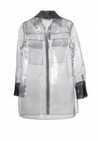 Овърсайз риза от органза в сив цвят