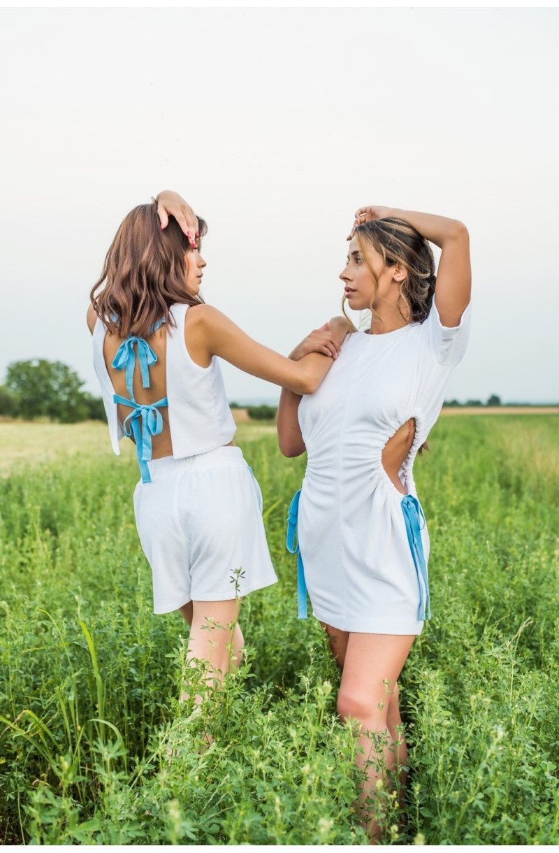 Short terry cloth tank top with bare back in white