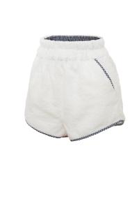 Къси панталони от хавлиен плат в бял цвят с ретро кройка