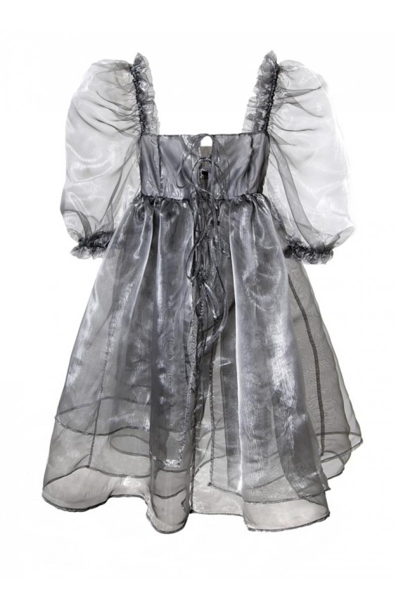 Vestido corto de organza con mangas buffane