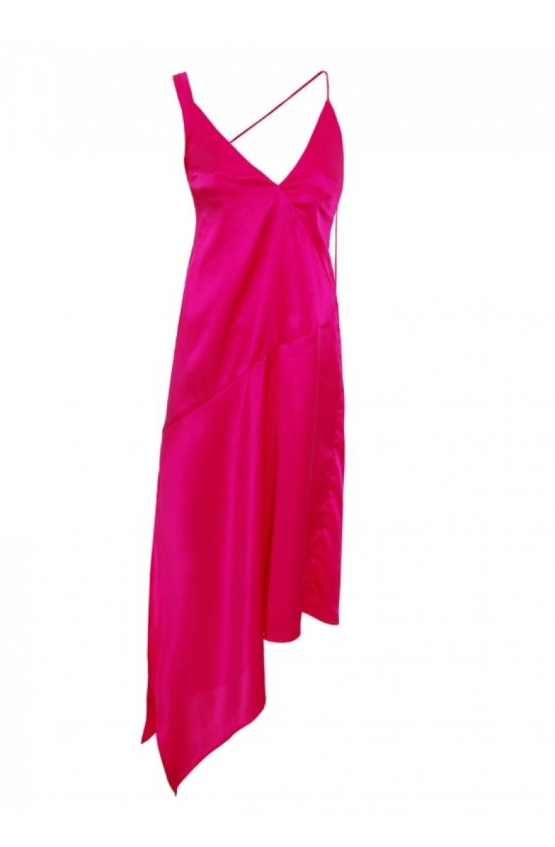 Розова асиметрична сатенена слип рокля