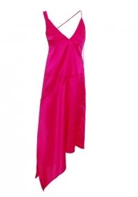 Pink asymmetrical satin slip dress