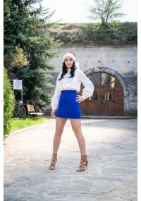 Short fitted high waisted cotton skirt