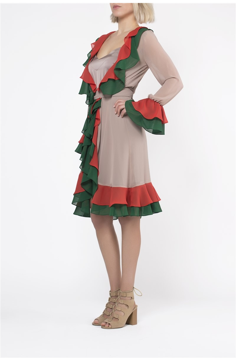 Chiffon robe dress with colorful ruffles
