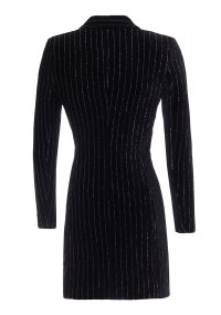 Short Velvet blazer dress in black