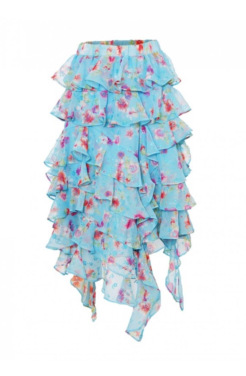 Falda con volantes asimétrica de gasa con estampado floral