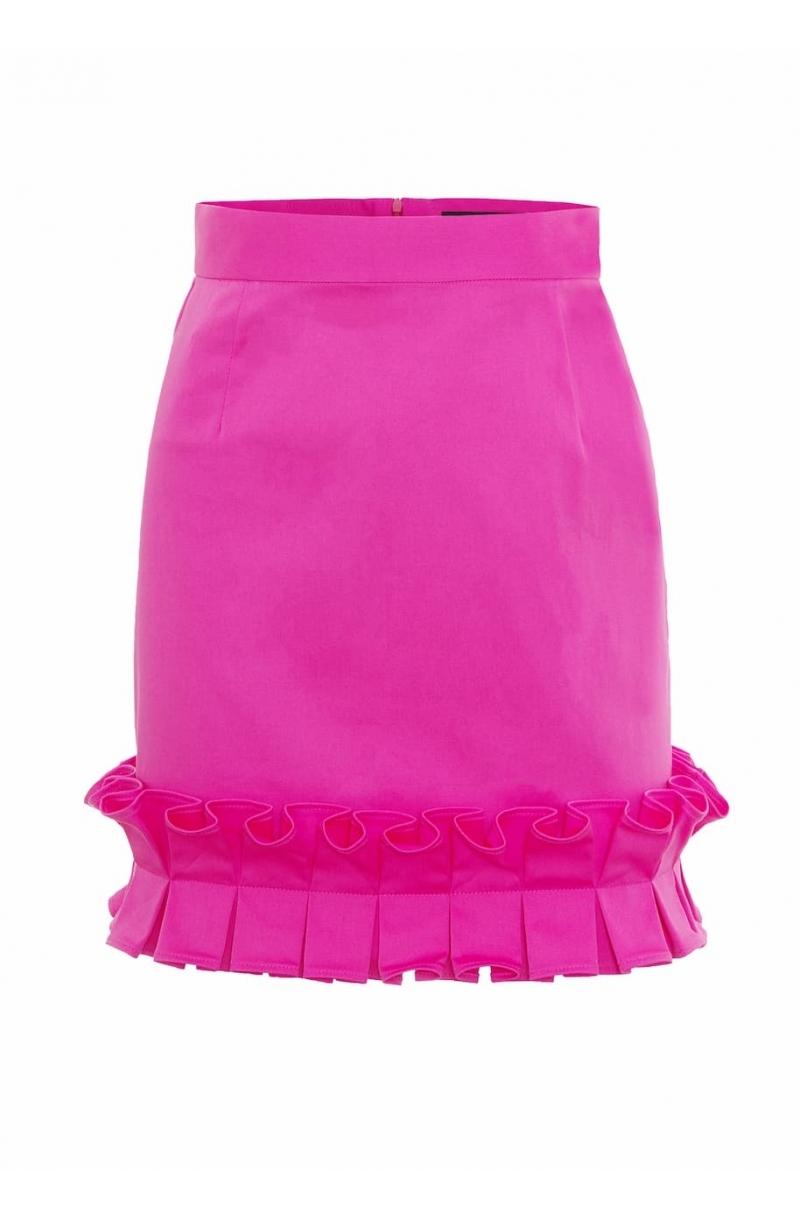 Falda corta de algodon con cintura alta de color rosa