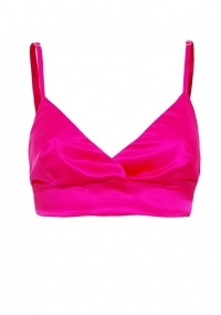Soft satin triangle cup bralette in pink