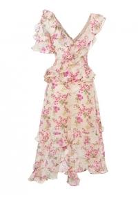 Дълга асиметрична рокля на цветя с волани