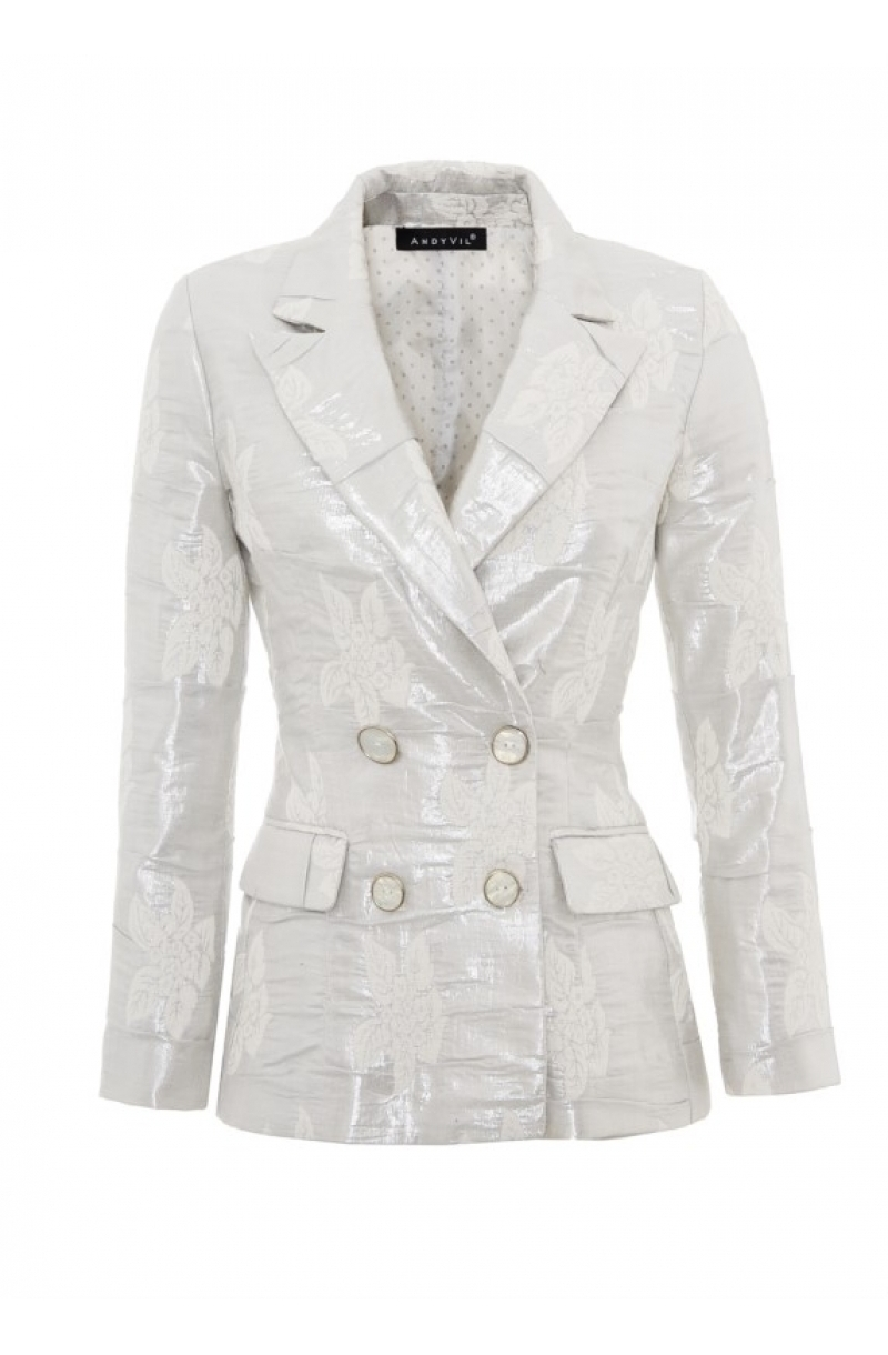 Fitted silver double breasted blazer