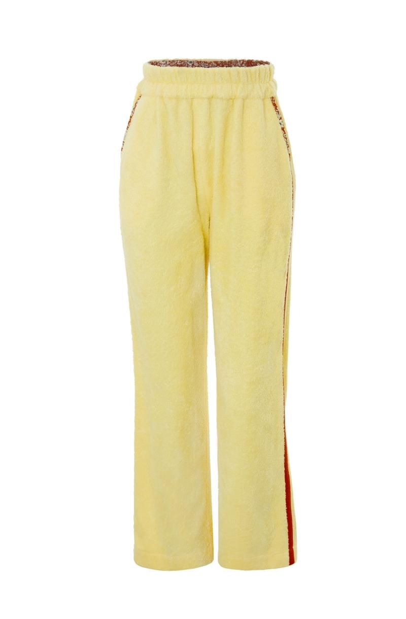 Pantalón largo de toalla en amarillo pálido con ribete a contraste