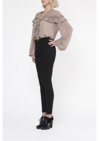 Chiffon blouse with frills in beige