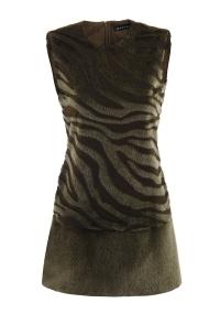 Short sleevless A- line dress from faux fur