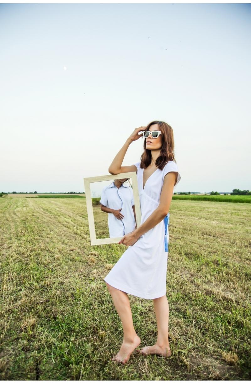 Medium length terry cloth dress in white