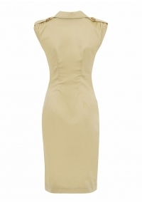 Mid-lenght beige dress with buttons