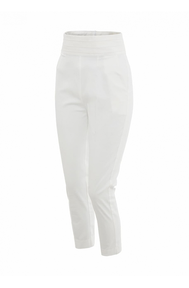 White high- waisted trousers