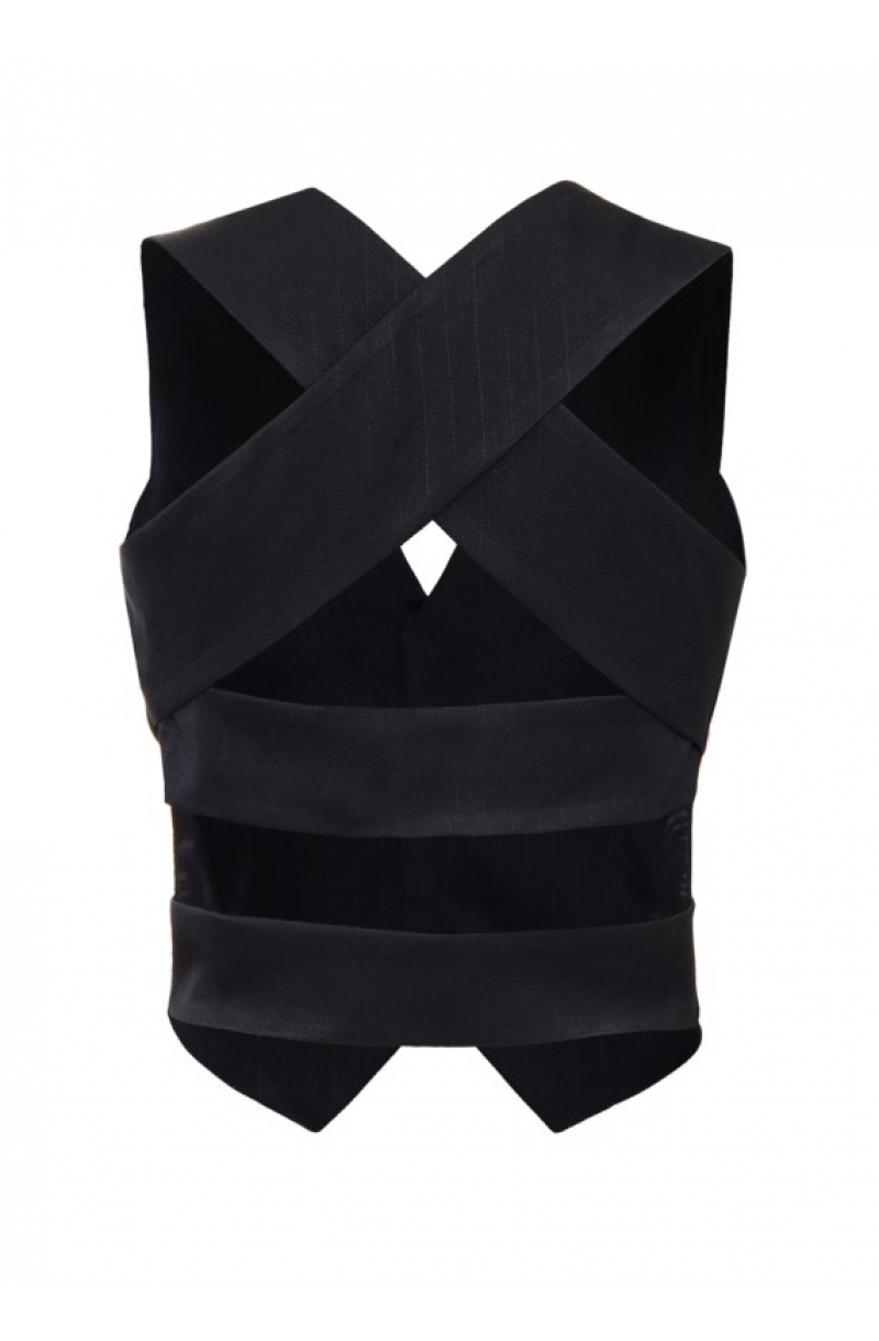Black short backless vest for women