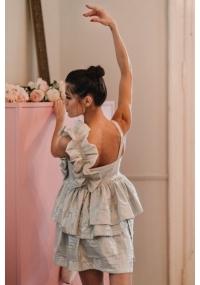 Сребриста къса рокля с принт