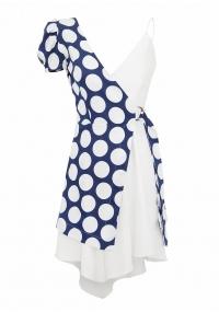 Asimetric short polka dot dress with one buffan sleeve