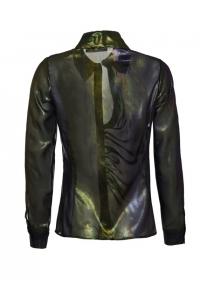 Черна шифонена блестяща асиметрична риза