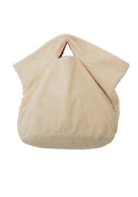 Terry cloth hobo bag in peach