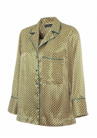 Satin printed pyjama style shirt with belt