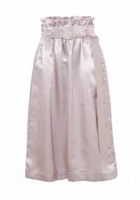Paper bagmid- lenght silver satin skirt
